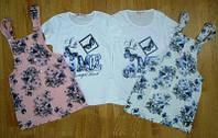 Костюм для девочек сарафан и футболка белый