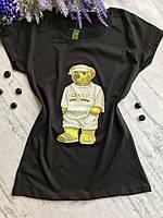 Женская футболка в стиле гуччи Мишка 2. Белая, черная. Размеры: S,M,L, фото 1