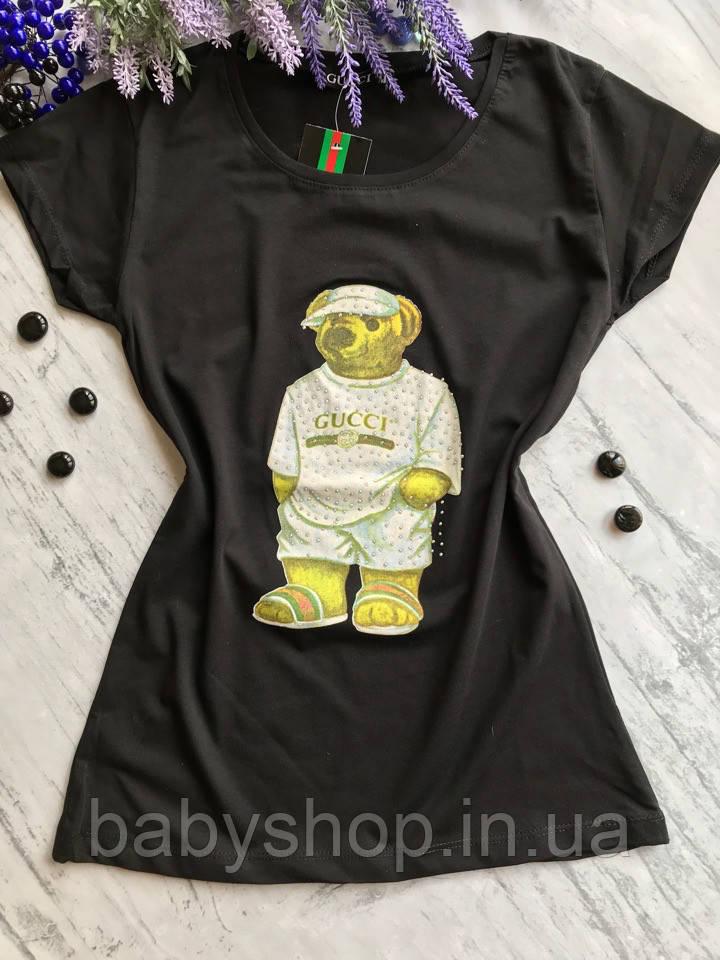 Женская футболка в стиле гуччи Мишка 2. Белая, черная. Размеры: S,M,L