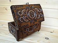 Резная шкатулка инкрустированная бисером и металлом 11х18 см Сундучок для украшений из натурального дерева