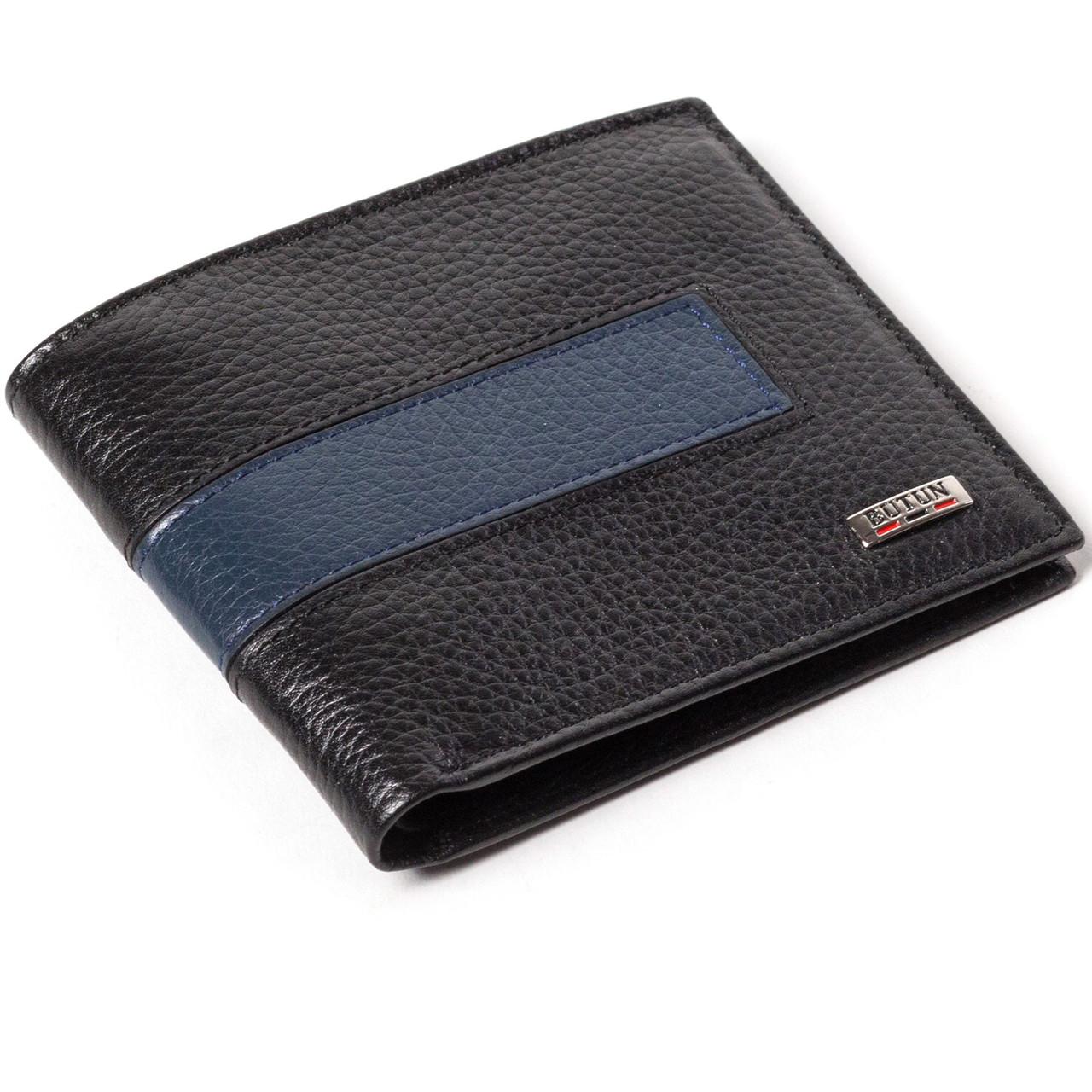 Мужской кошелек кожаный черный BUTUN 118-004-030