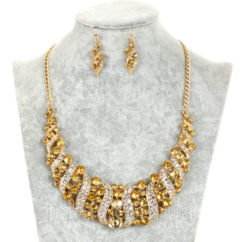 Ожерелье колье и серьги набор бижутерии украшения