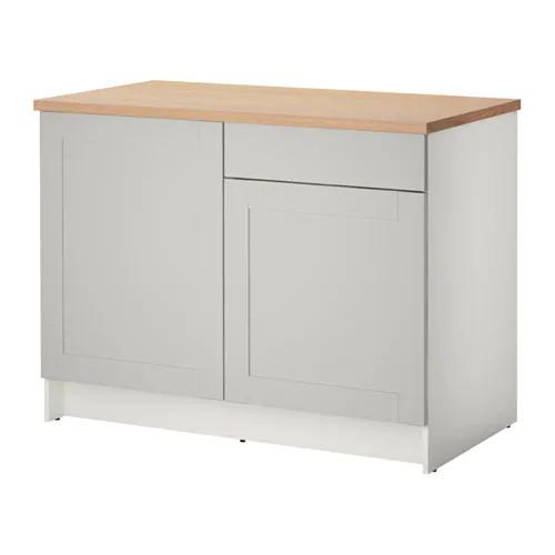 Напольный шкаф с ящиками и дверцами IKEA KNOXHULT 120 см серый светло-коричневый 503.267.94