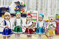 Карнавальный костюм Гномик  девочка синий, красный, золотой, зелёный, бирюзовый