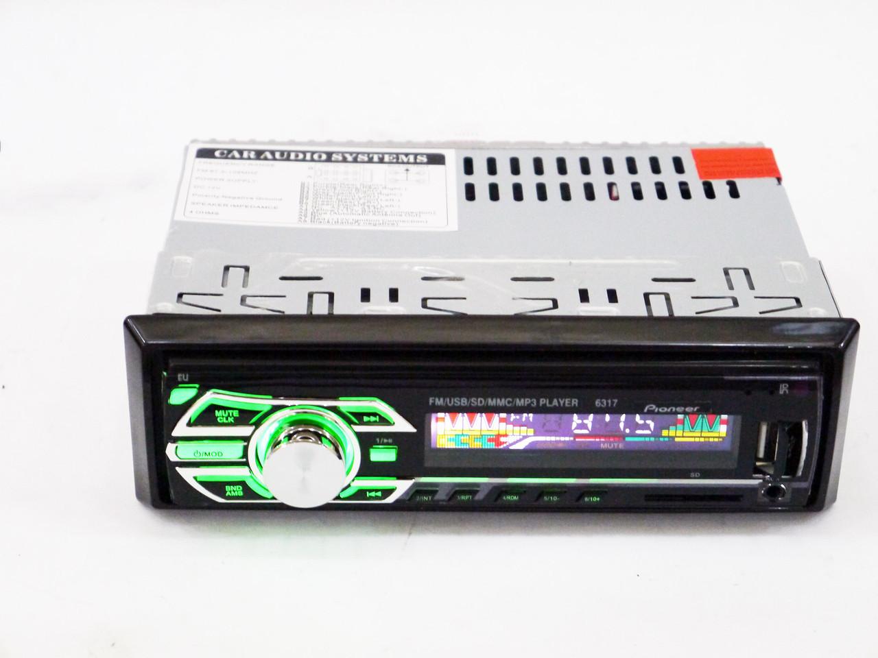 В машину магнітола Pioneer 1DIN MP3-3228D RGB/Сьемная панель автомагнітола якісна