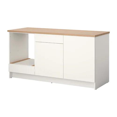 Напольный шкаф с ящиками и дверцами IKEA KNOXHULT 180 см белый светло-коричневый 703.267.88