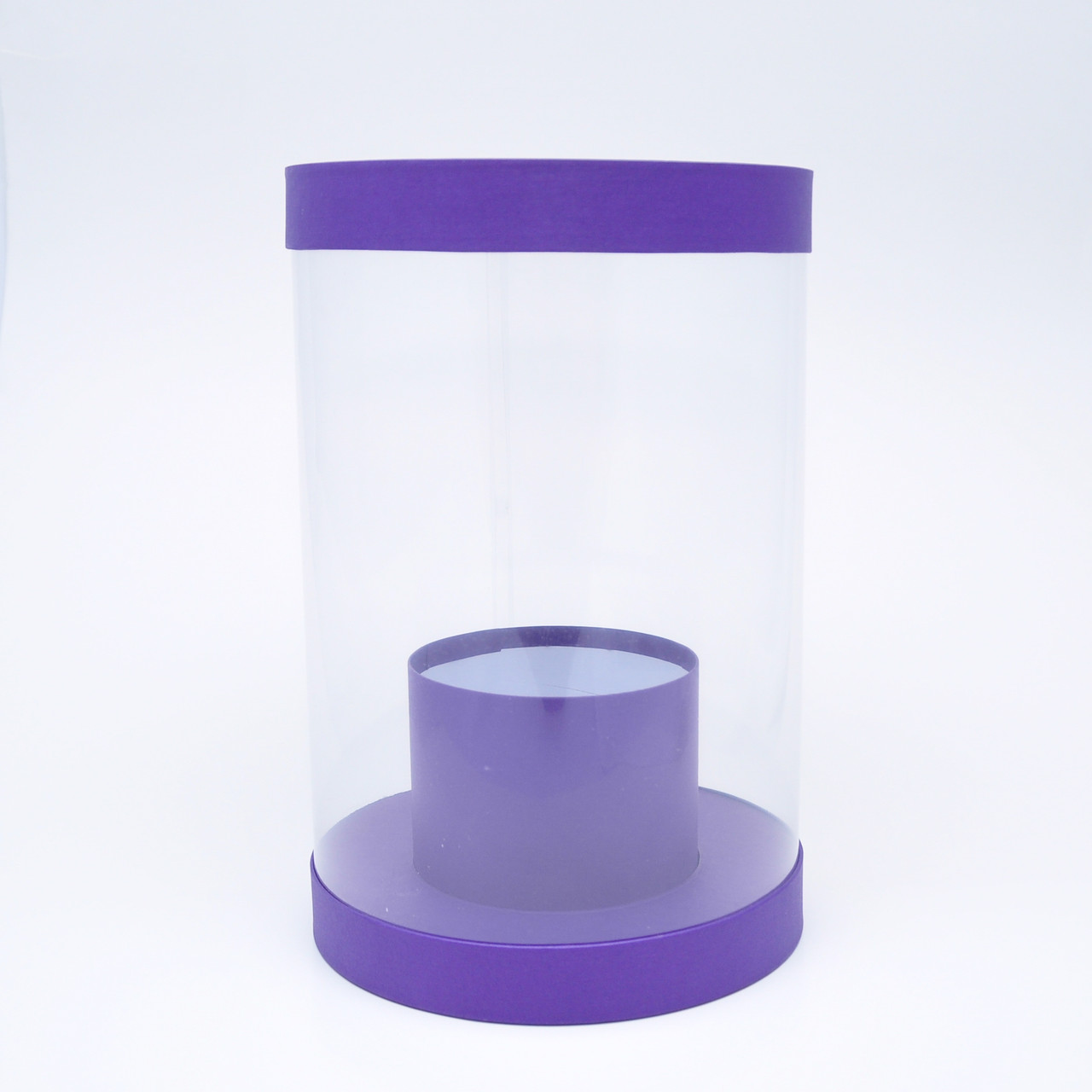 Круглая коробка из прозрачного пластика