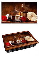 Поднос на подушке BST 040353 44*36 коричневый натюрморт кофе с цветами