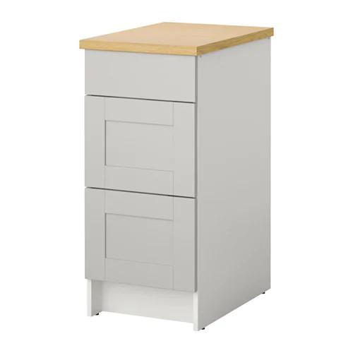 Напольный шкаф с ящиками IKEA KNOXHULT 40 см серый светло-коричневый 703.267.93