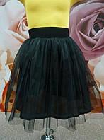 Юбка евросетка черная с подклаткой