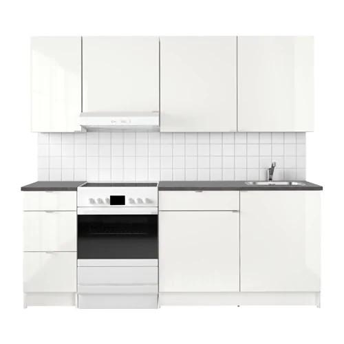 Кухонный гарнитур IKEA KNOXHULT 220x61x220 см белый глянец черный 091.804.69