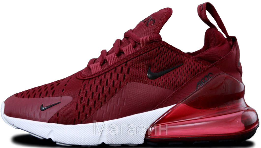 Женские кроссовки Nike Air Max 270 Найк Аир Макс 270 бордовые