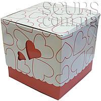 Упаковка для чашек цветная с сердечком (розовая)