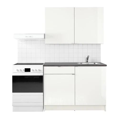 Кухонный гарнитур IKEA KNOXHULT 120x61x220 см белый глянец черный 291.804.68