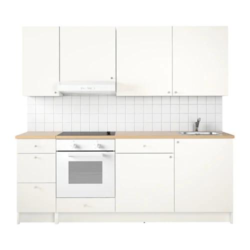 Кухонный гарнитур IKEA KNOXHULT 220x61x220 см белый светло-коричневый 491.804.67