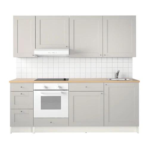 Кухонный гарнитур IKEA KNOXHULT 220x61x220 см серый светло-коричневый 791.804.37