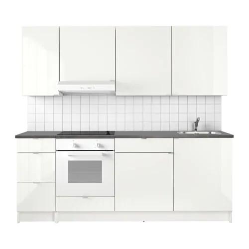 Кухонный гарнитур IKEA KNOXHULT 220x61x220 см белый глянец черный 691.804.71