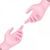 Перчатки нитриловые розовые размер L