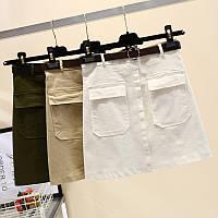 Коттоновая юбка трапеция, 4 цвета, фото 1