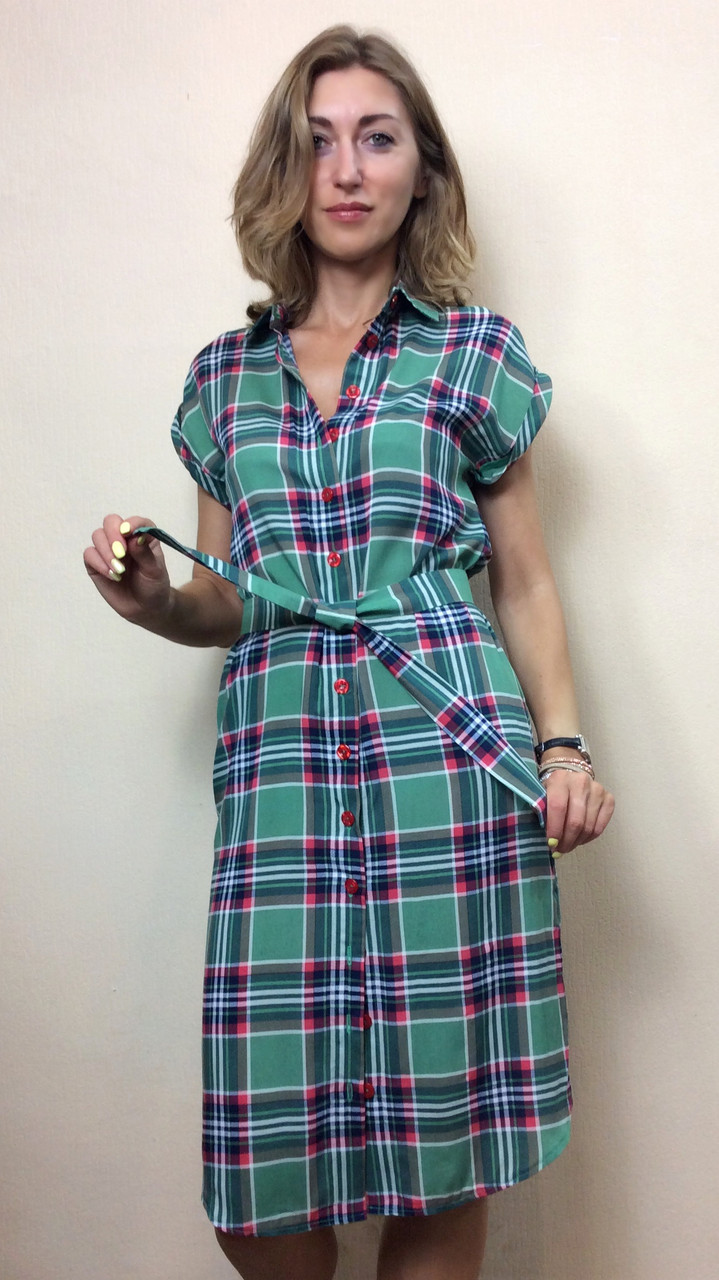 Платье-рубашка из штапеля в клетку РП110