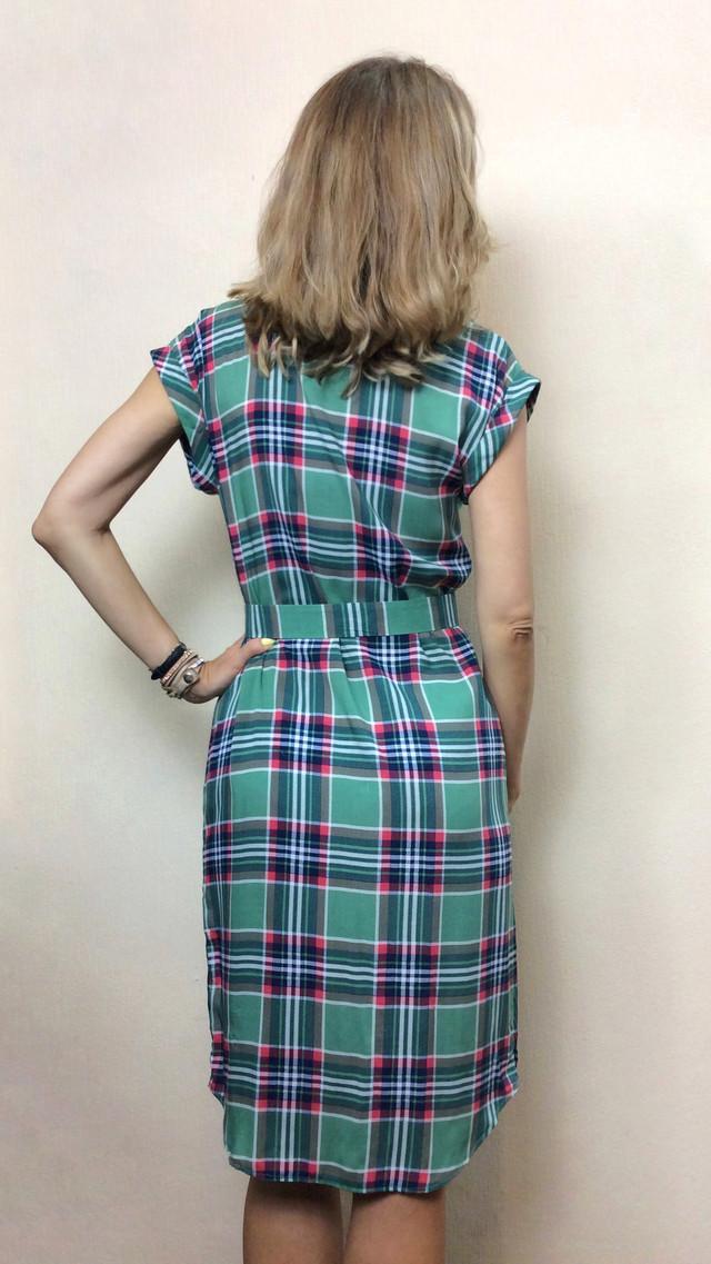 Платье-рубашка из штапеля в клетку РП71