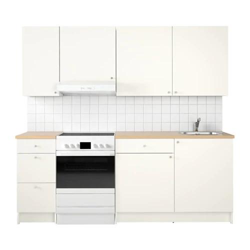 Кухонный гарнитур IKEA KNOXHULT 220x61x220 см белый светло-коричневый 891.804.65