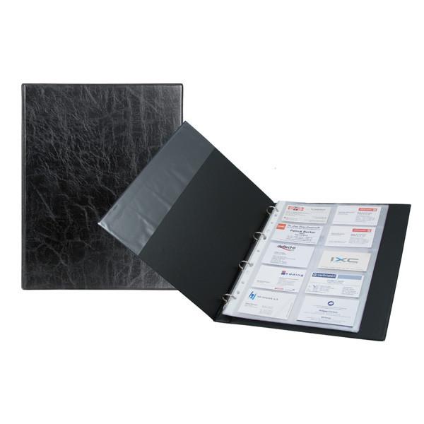 Візитниця на кільцях 2504-01, А4 (200 віз.) чорна, 2504-01-A
