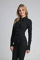 Женская черная рубашка на пуговицах размер 42,44