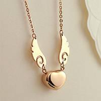 """Жіночий позолочений кулон """"Серце з крилами"""", фото 1"""