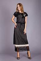 Длинное черное платье-двойка от бренда Трикобах размер 42-44