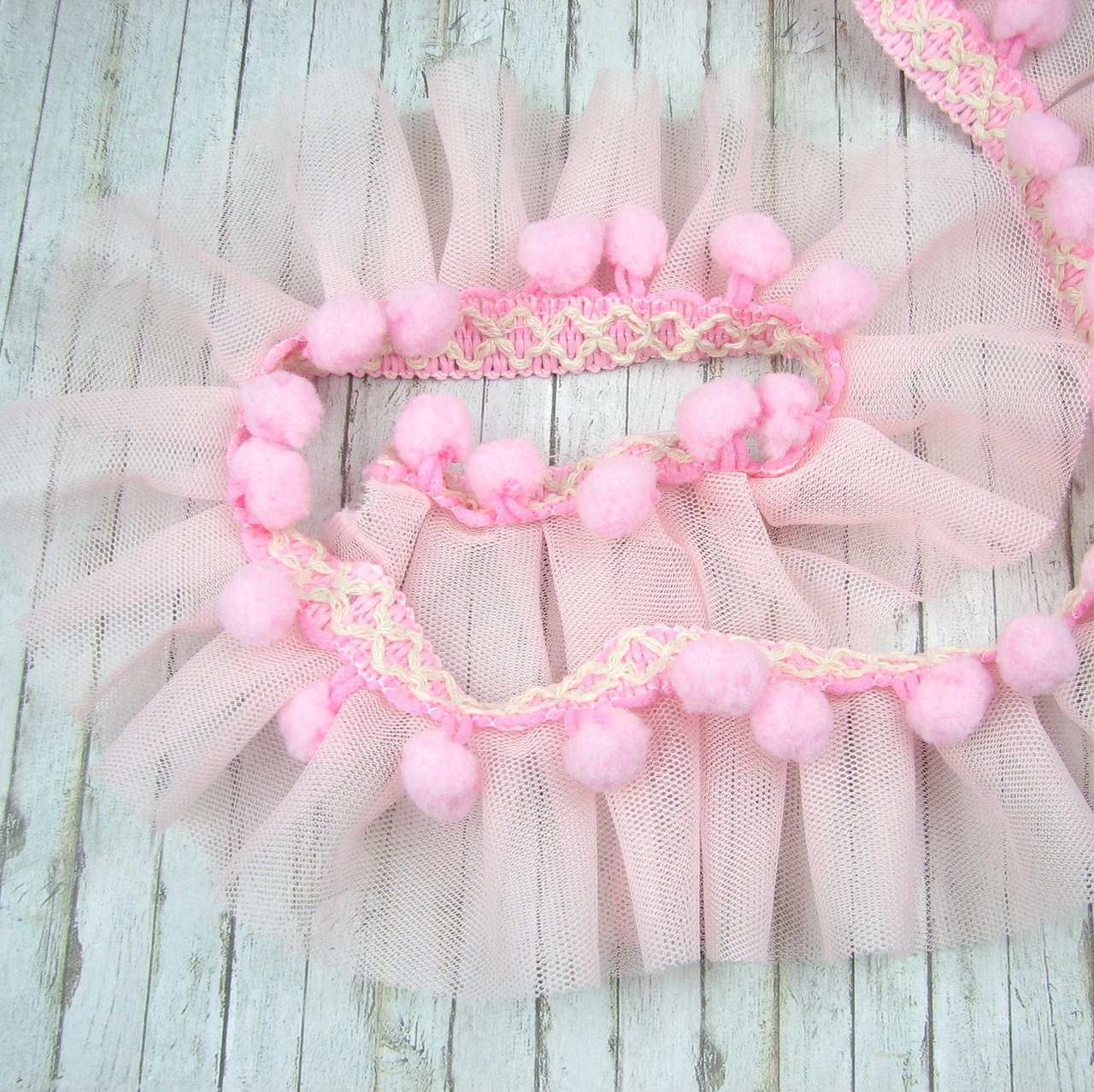 Фатин розовый с помпонами 5см, отрез 1 ярд