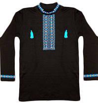 Вышиванка мужская черная с длинным рукавом, 03081 голубая вышивка, интерлок, р.52
