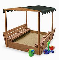 Песочница с крышкой скамейками тентом