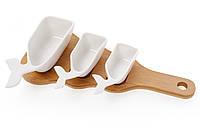 Сервировочный набор из трех пиал Киты на деревянной доске, 32см, 982-304