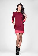 Короткое яркое бордовое платье - туника для девушек с карманами размер 44-46