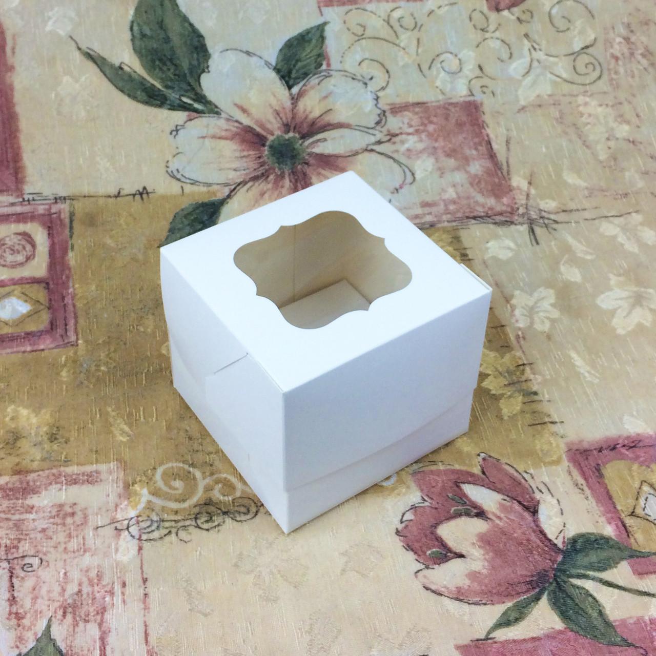 Коробка для 1-ого кекса / 100х100х90 мм / Белая / окно-обычн