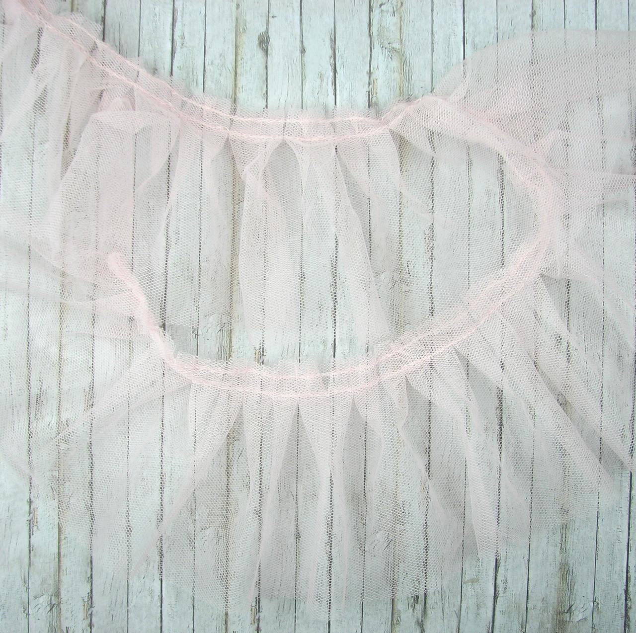 Фатин бледно - розовый, ширина 9см, отрез 70см
