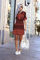 Платье хлопковое с поясом корал 526 44-50р