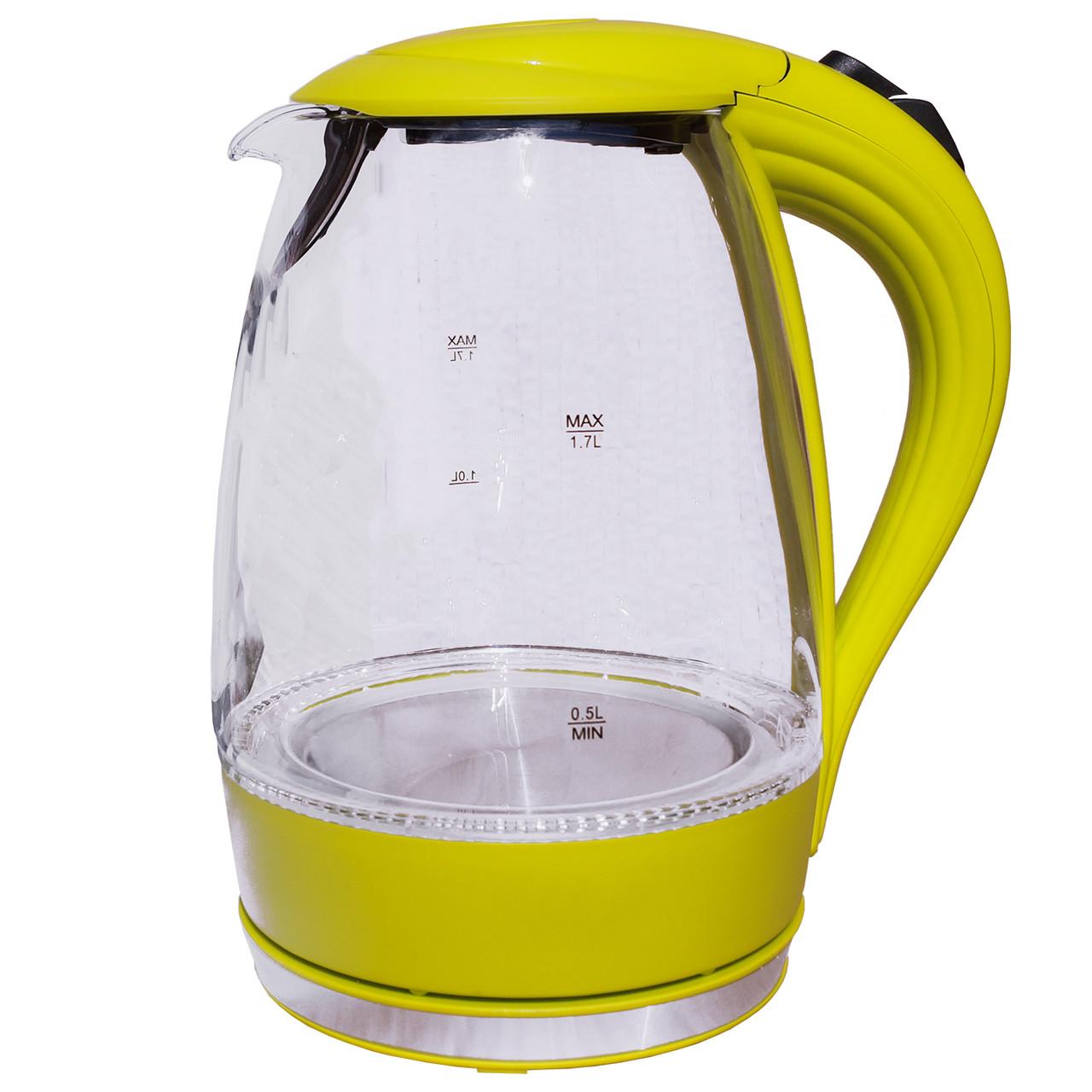 Электрочайник стекло  DT 810 желтый 1,7  литра  распродажа