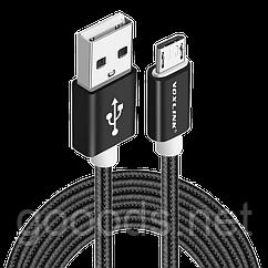 Кабель в тканевой оплетке USB - microUSB Voxlink 2м