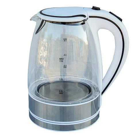 Электрочайник стекло DT 702 белый 2 литра распродажа