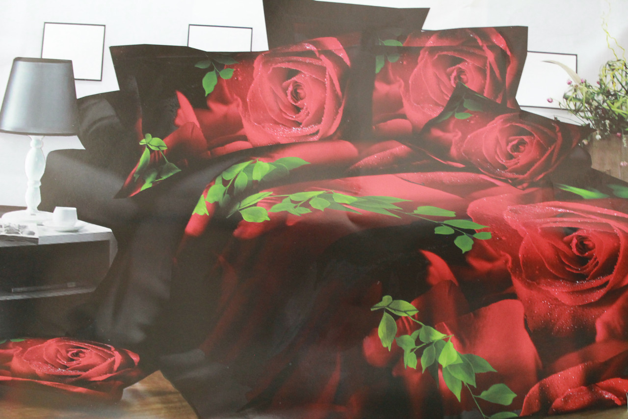 Постельный комплект Розы на черном из ранфорса 3D