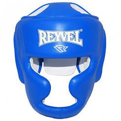Боксерский шлем тренировочный кожа синий