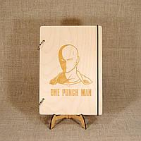 Скетчбук One-Punch Man. Блокнот с деревянной обложкой., фото 1