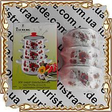 Набор 3 пр. кастрюль Мак Red 2,1/3,1/4 л. стекл. крышка эмаль Interos №9/L