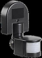 Датчик движения ДД 008 черны, максимальная нагрузка 1100Вт, угол обзора 180 градусов, дальность 12м, IP44, IEK