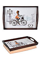 Поднос на подушке для завтрака с ручками BST 48*33 коричнево-бежевый Леди на велосипеде