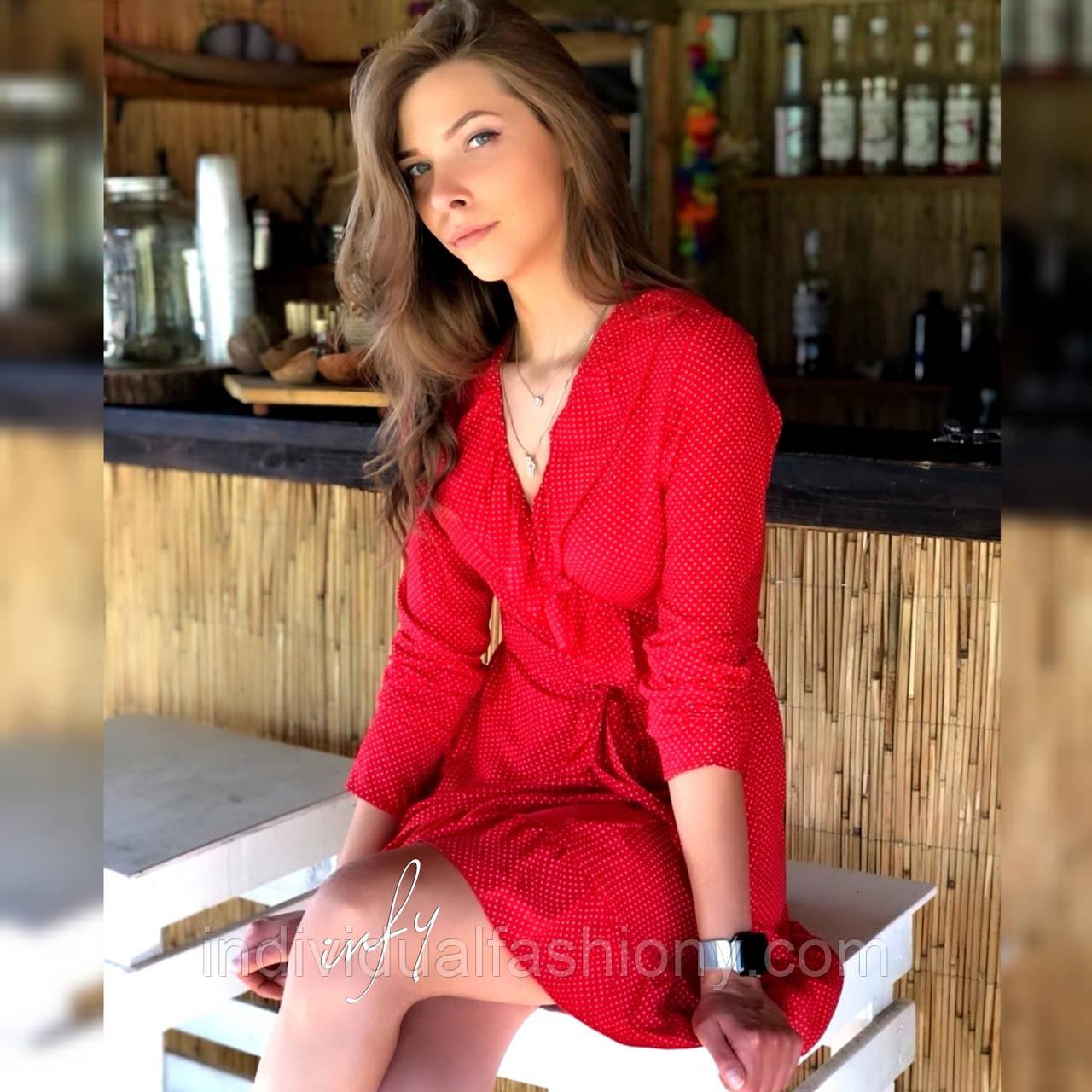 Платье мини рюши на запах красное в мелкий белый горох длинный рукав