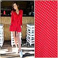 Платье мини рюши на запах красное в мелкий белый горох длинный рукав, фото 2