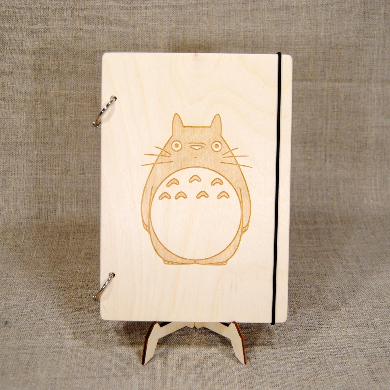 Скетчбук A5. Блокнот с деревянной обложкой Totoro